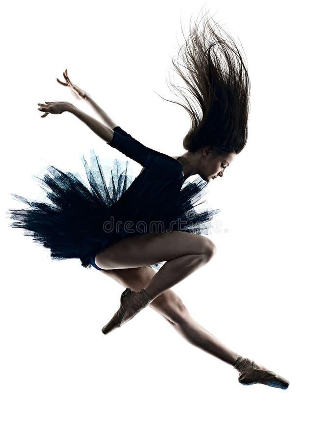 Jong de balletdanser dansend ge?soleerd wit van de vrouwenballerina silhouet als achtergrond stock foto's