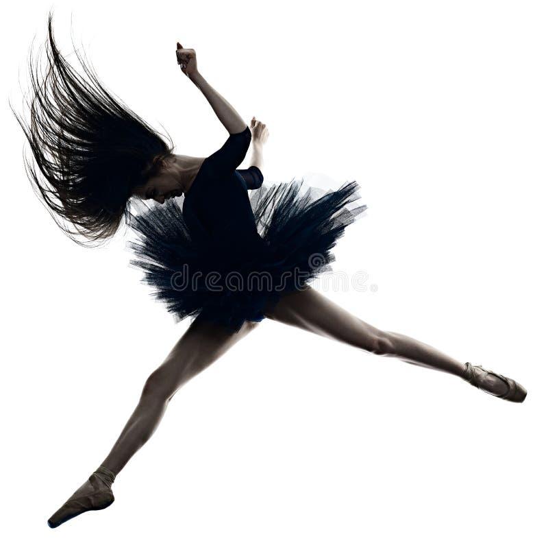 Jong de balletdanser dansend ge?soleerd wit van de vrouwenballerina silhouet als achtergrond royalty-vrije stock afbeeldingen