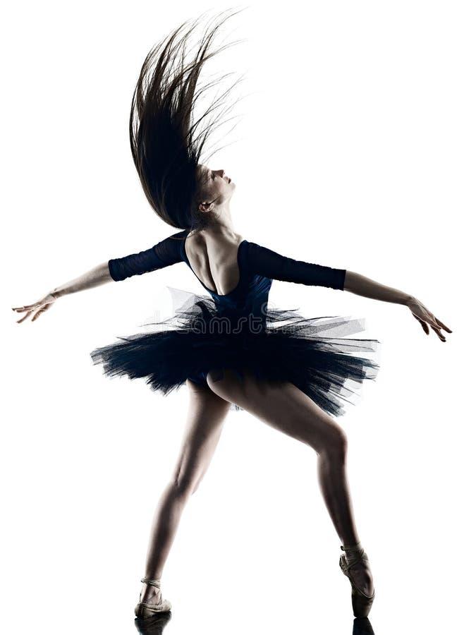 Jong de balletdanser dansend ge?soleerd wit van de vrouwenballerina silhouet als achtergrond stock fotografie