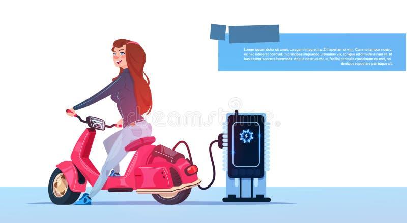 Jong de Postrood van Meisjessit electric scooter charging at stock illustratie