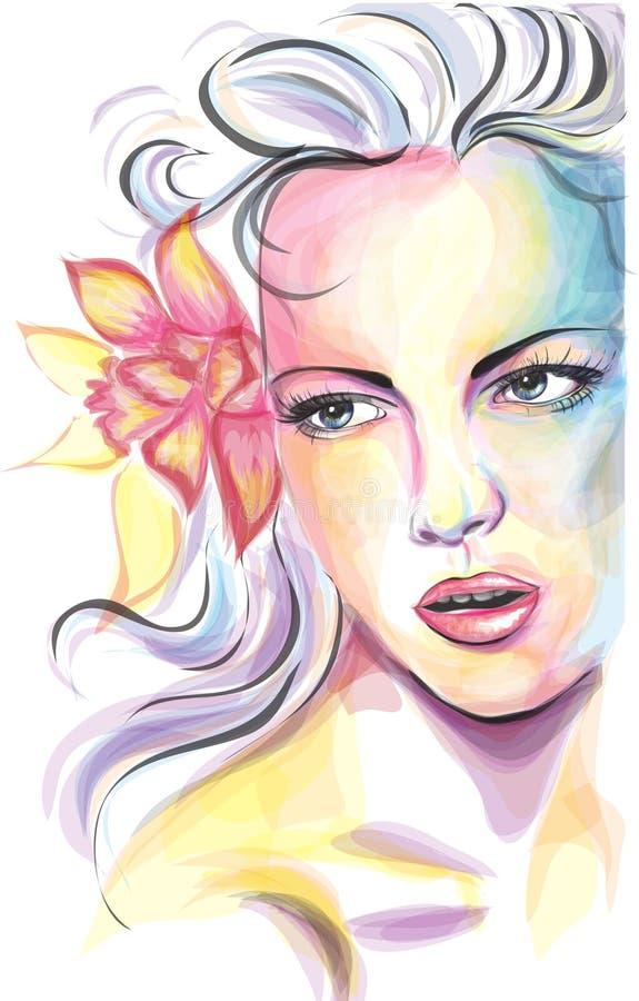 Jong de vrouwenportret van Colorfull vector illustratie