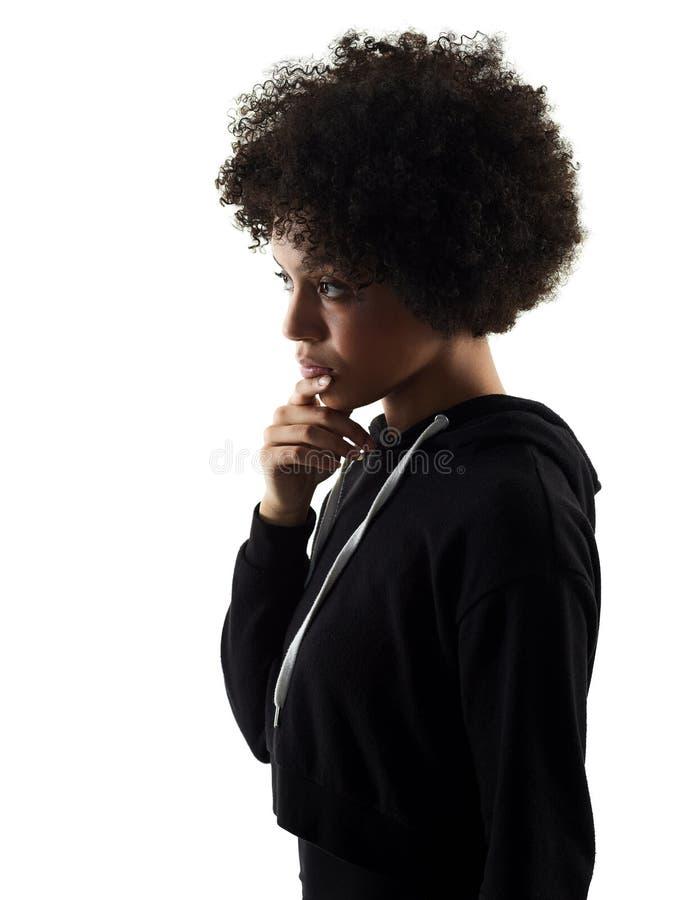 Jong de vrouwenschaduw van het tienermeisje het denken geïsoleerd silhouet royalty-vrije stock foto's