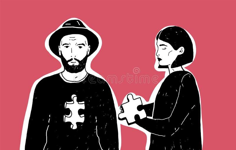 Jong droevig de puzzelstuk en man van de vrouwenholding in hoed met inkeping van verschillende vorm in zijn borstconcept van vector illustratie