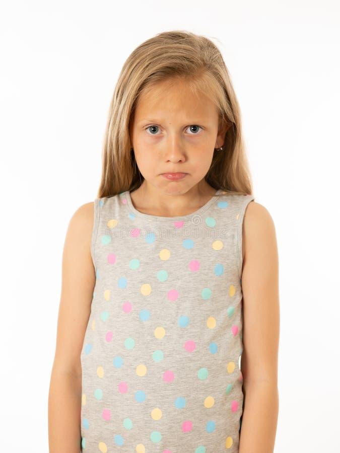 Jong, droevig, ongelukkig, hulpeloos vermoeid meisje die aan depressie lijden Menselijke emoties, het bulling royalty-vrije stock foto