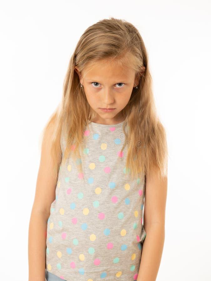 Jong, droevig, ongelukkig, hulpeloos vermoeid meisje die aan depressie lijden Menselijke emoties, het bulling royalty-vrije stock afbeelding
