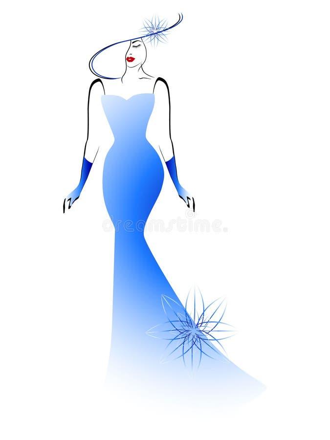Jong en mooi meisje in een lange blauwe kleding vector illustratie