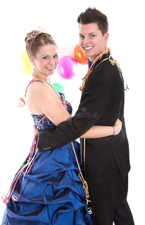 Jong geïsoleerd paar - prins en prinses op Carnaval royalty-vrije stock foto's