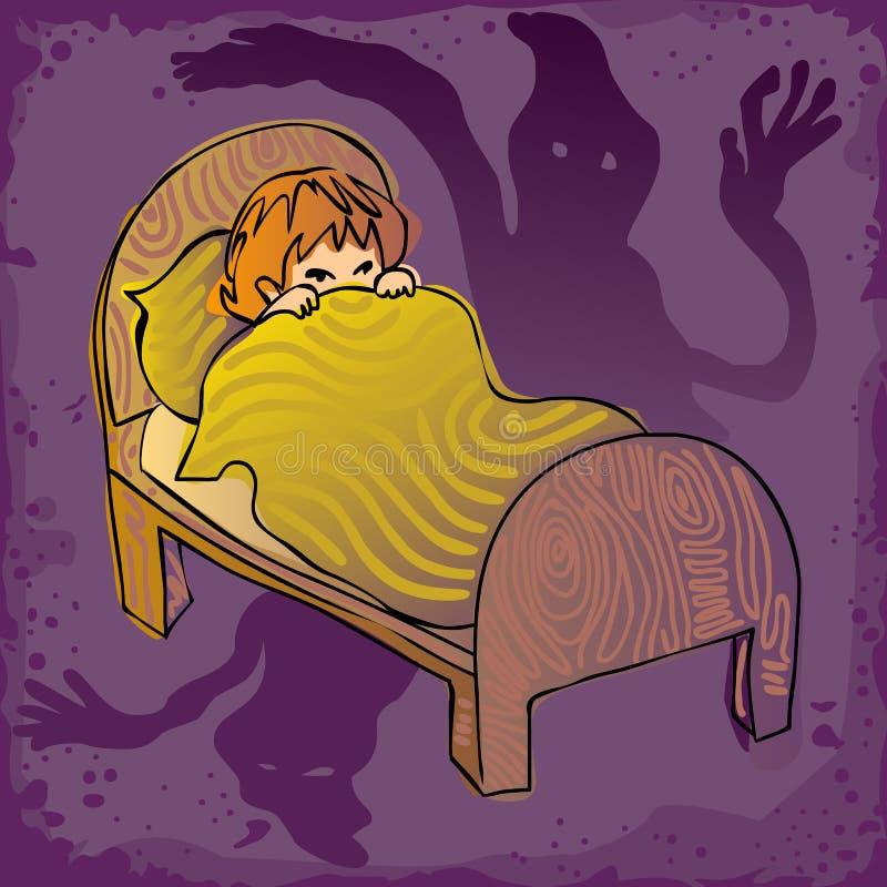 Jong geitje bang in dark vector illustratie