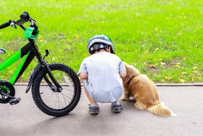 Jong geitje berijdende fiets in stadspark en opgehouden om leuk weinig hond te ontmoeten Kind die pret het spelen met huisdierenv royalty-vrije stock foto