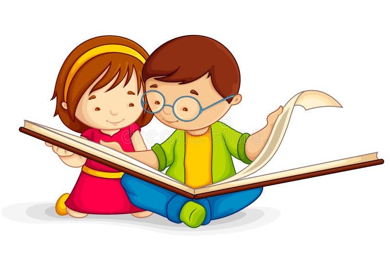 Jong geitje dat Open Boek leest royalty-vrije illustratie
