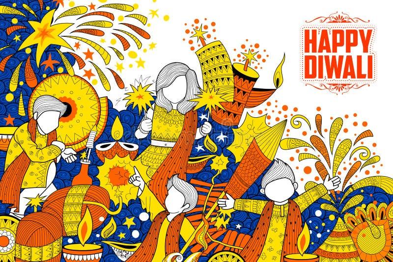 Jong geitje die de gelukkige Diwali-achtergrond van de Vakantiekrabbel voor licht festival van India vieren royalty-vrije illustratie