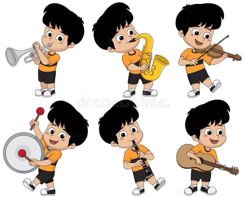 Jong geitje die muzikale instrumenten zoals trompet, saxofoon, viool spelen stock illustratie