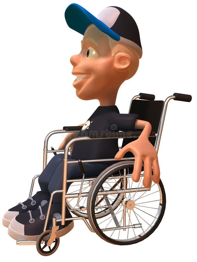 Jong geitje in een rolstoel vector illustratie