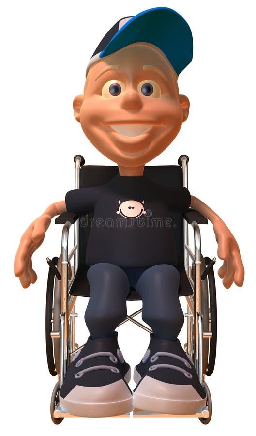 Jong geitje in een rolstoel stock illustratie