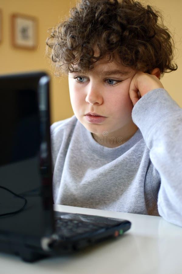 Jong geitje gebruikend computer royalty-vrije stock foto's