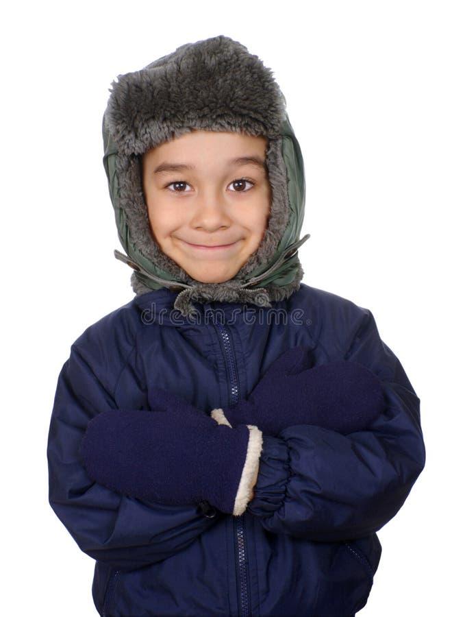 Jong geitje gekleed voor de winter stock afbeeldingen