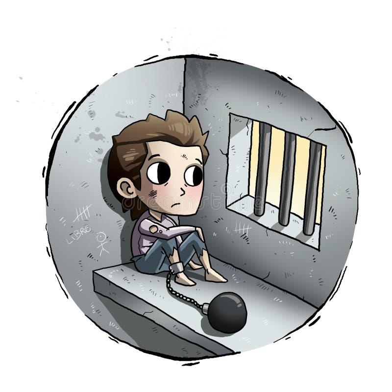 Jong geitje in gevangenis royalty-vrije illustratie