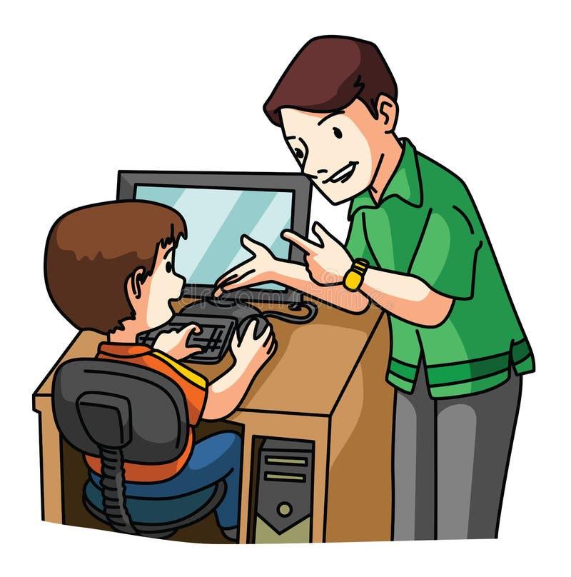 Jong geitje het leren Computer stock illustratie