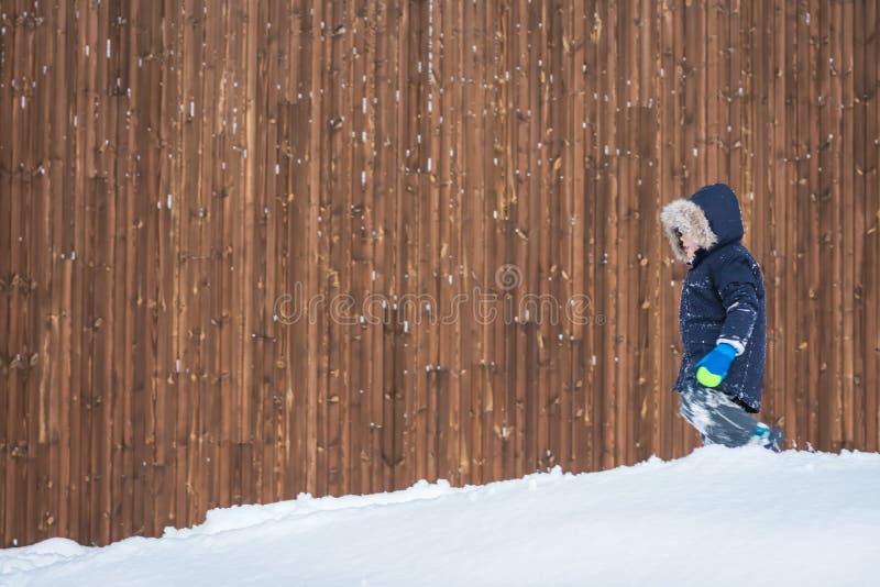 Jong geitje het spelen in een diepe sneeuw royalty-vrije stock foto's