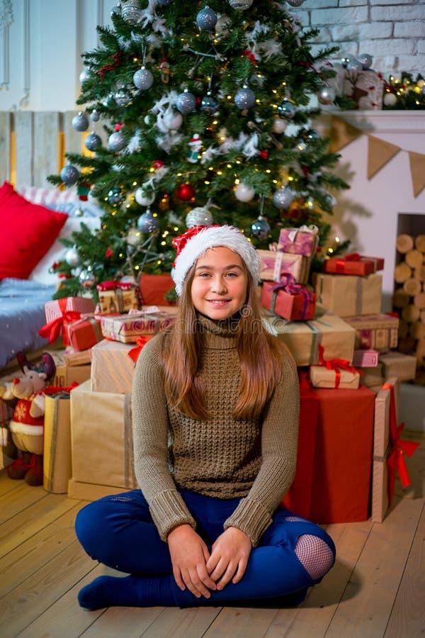 Jong geitje het vieren Kerstmis royalty-vrije stock afbeeldingen