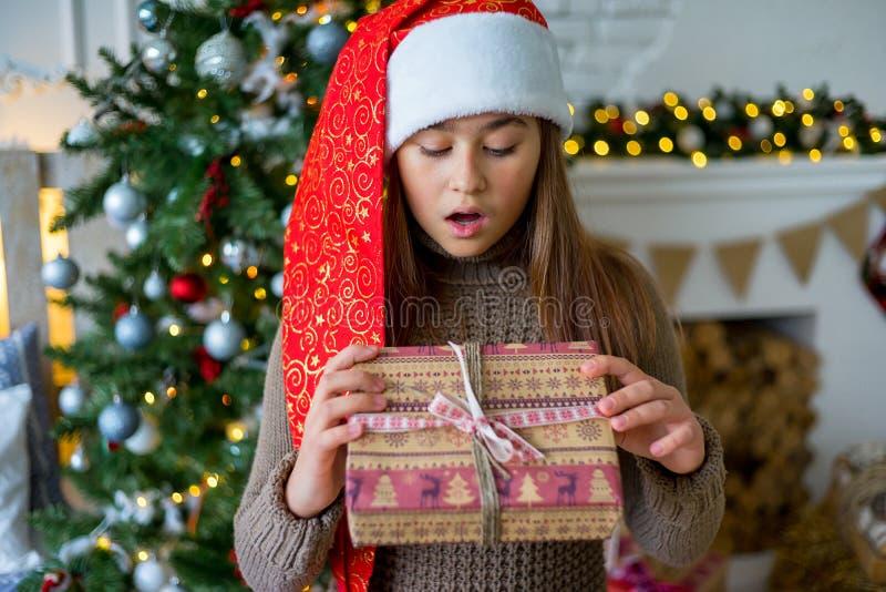 Jong geitje het vieren Kerstmis stock foto's