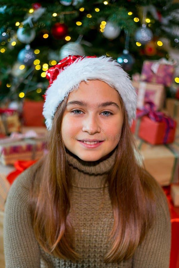 Jong geitje het vieren Kerstmis stock afbeeldingen