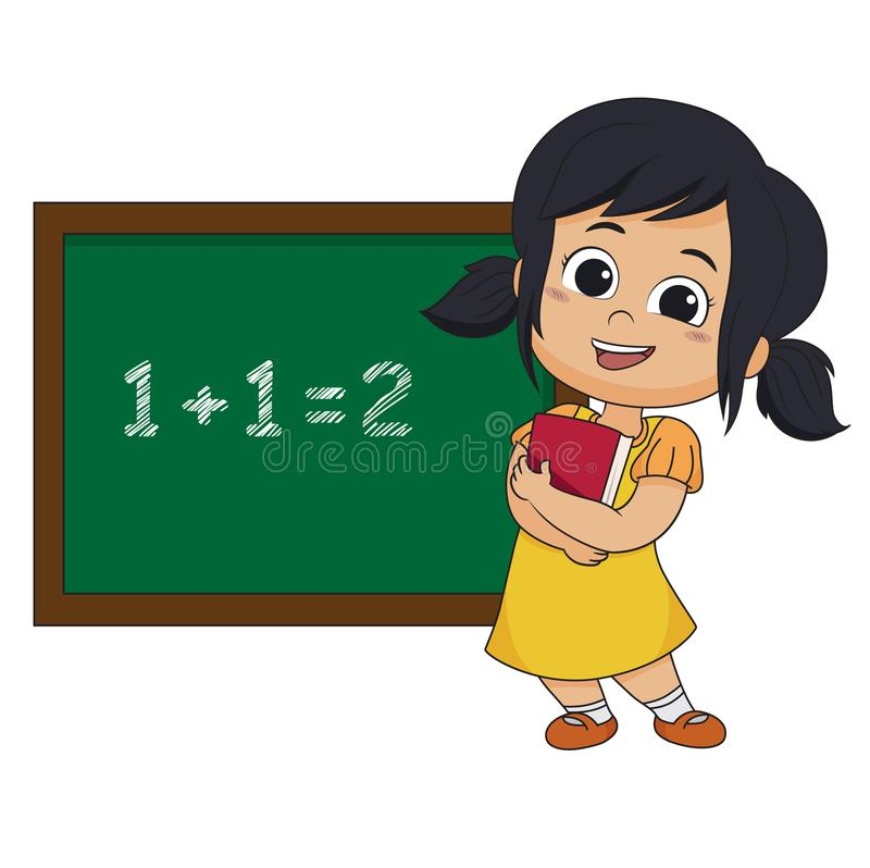 Jong geitje learing wiskunde in klasse stock illustratie