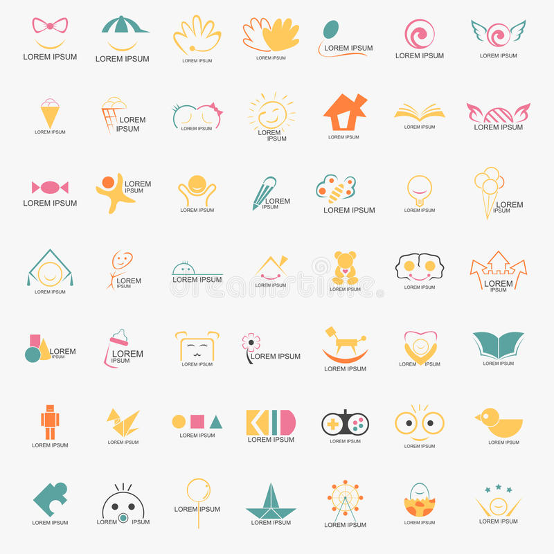 Jong geitje Logo Set vector illustratie
