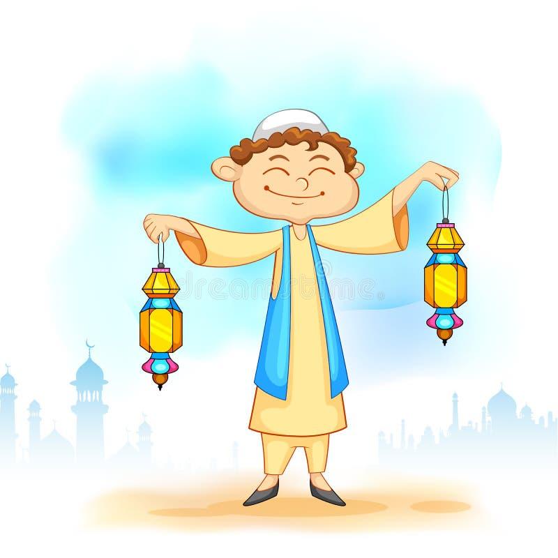 Jong geitje met Eid-lantaarn royalty-vrije illustratie