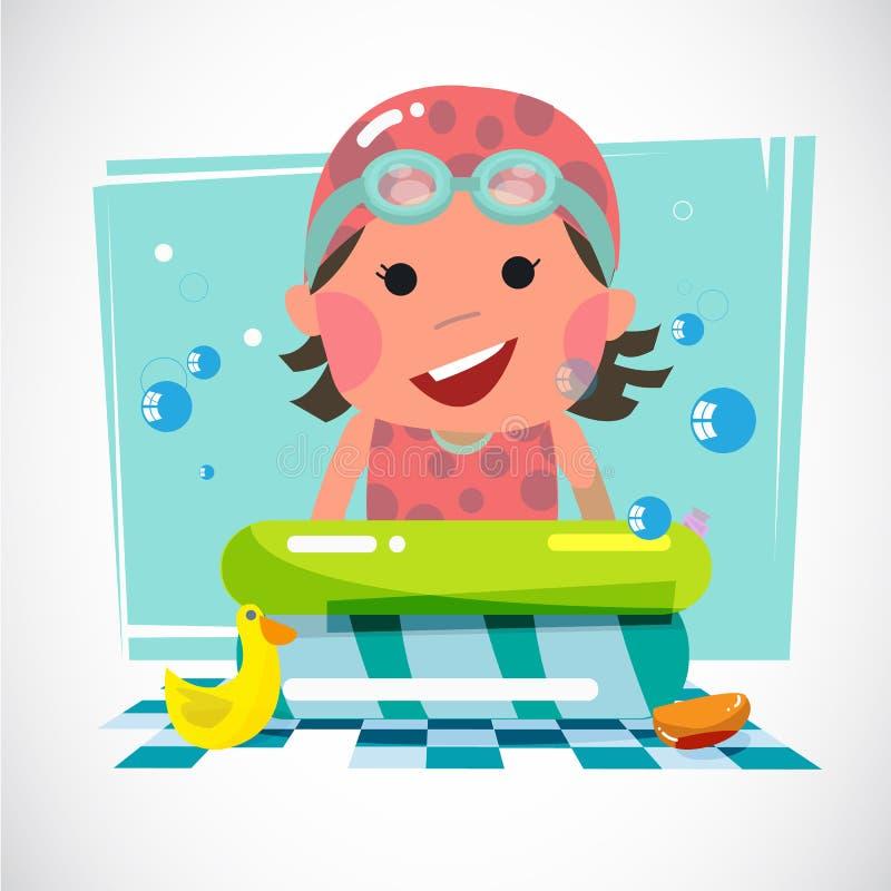 Jong geitje met pool en stuk speelgoed eenden - vector illustratie
