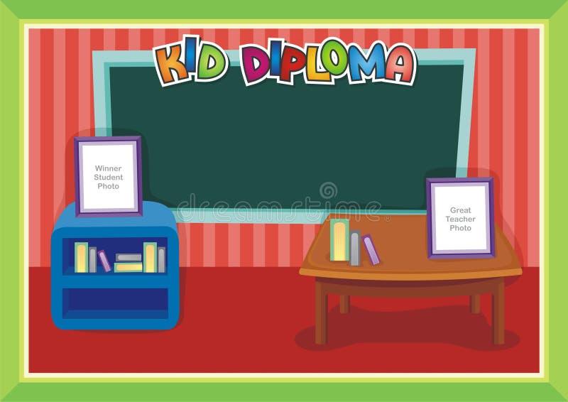 Jong geitjediploma - de Stijl van de Klassenruimte stock illustratie