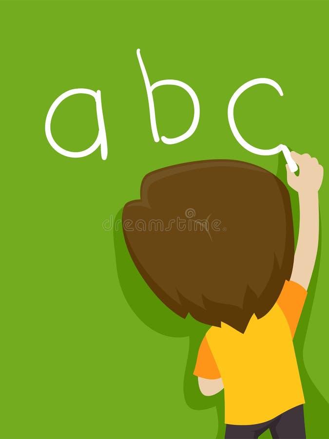Jong geitjejongen die ABC op het Bord schrijven royalty-vrije illustratie