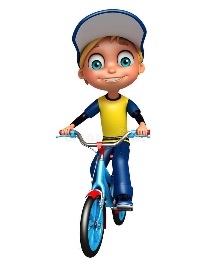 Jong geitjejongen met fiets vector illustratie