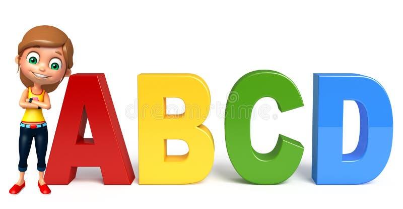 Jong geitjemeisje met Abcd-teken stock illustratie
