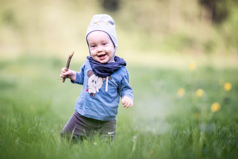 Jong geitjepeuter in gras, gelukkige uitdrukking stock afbeeldingen