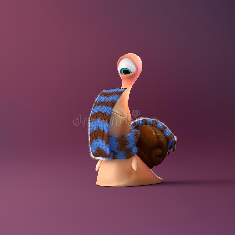 Jong geitjeslak in zeer verraste stemming op een kleurrijke achtergrond royalty-vrije illustratie