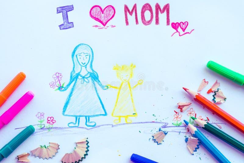 Jong geitjetekening van moeder die haar dochter houden voor gelukkige moeder` s dag royalty-vrije stock fotografie