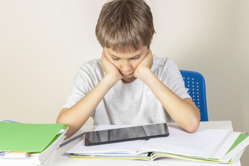 Jong geitjezitting bij lijst met boeken notitieboekjes en het gebruiken van tabletcomputer stock foto