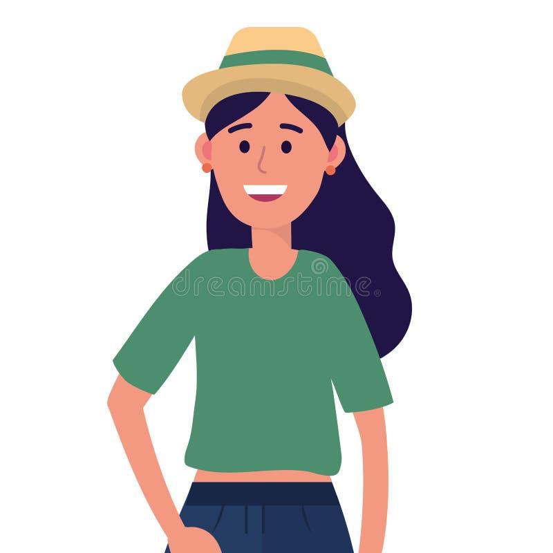 Jong gelukkig vrouwenbeeldverhaal royalty-vrije illustratie