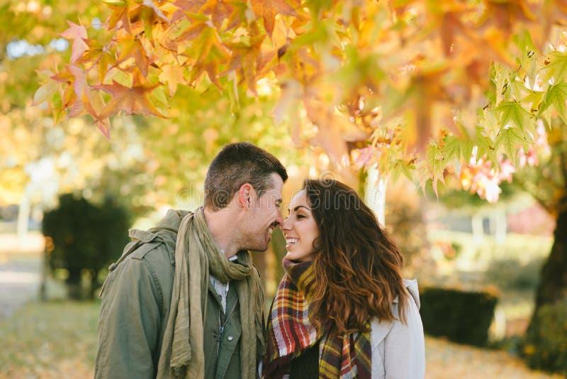 Jong gevend paar in de herfst bij stadspark stock foto's