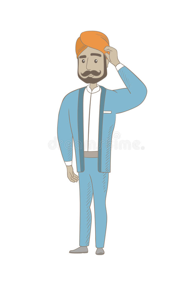 Jong Hindoes zakenman krassend hoofd vector illustratie