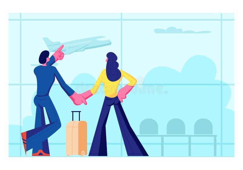 Jong Houdend van Paar die voor Vrije tijd gaan Man en Vrouwentribune in Luchthaven Eind het Wachten Vlucht het Letten op Vliegend vector illustratie
