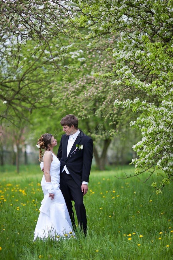 Jong huwelijkspaar stock afbeeldingen
