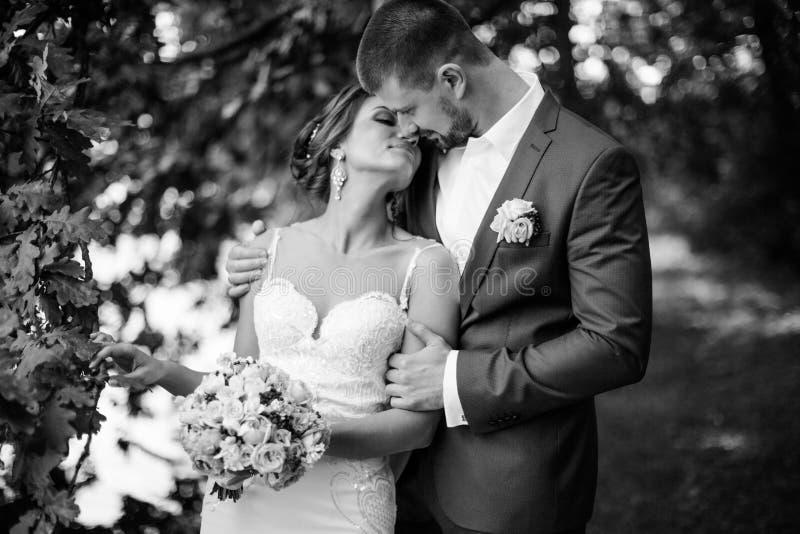 Jong huwelijkspaar die van romantische ogenblikken genieten royalty-vrije stock fotografie