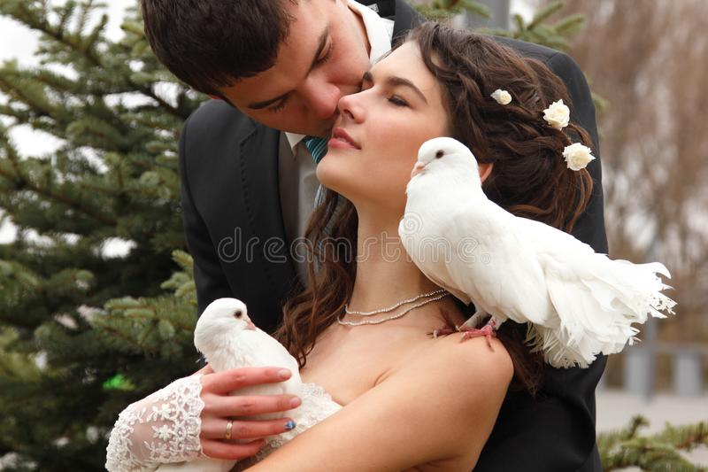 Jong huwelijkspaar met duivenpaar, de bruid van de bezemkus over pa royalty-vrije stock foto's