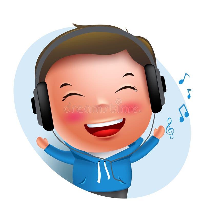 Jong jongens vectorkarakter die aan muziek in hoofdtelefoon luisteren terwijl het zingen royalty-vrije illustratie