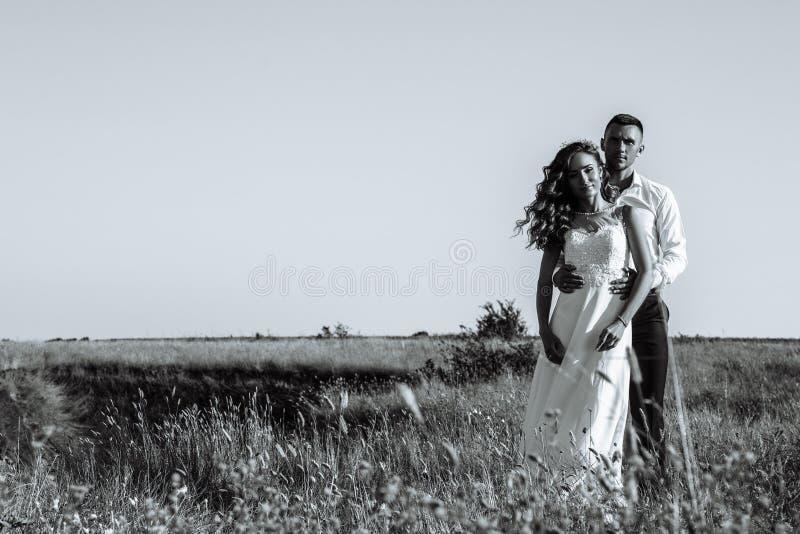 Jong jonggehuwdepaar die op gebied in zonlicht lopen openlucht royalty-vrije stock fotografie