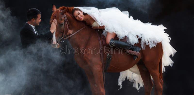 Jong jonggehuwdepaar, mooie schoonheidsbruid in kostuum die van het manier het witte bruids huwelijk op sterk spierpaard berijden stock afbeelding