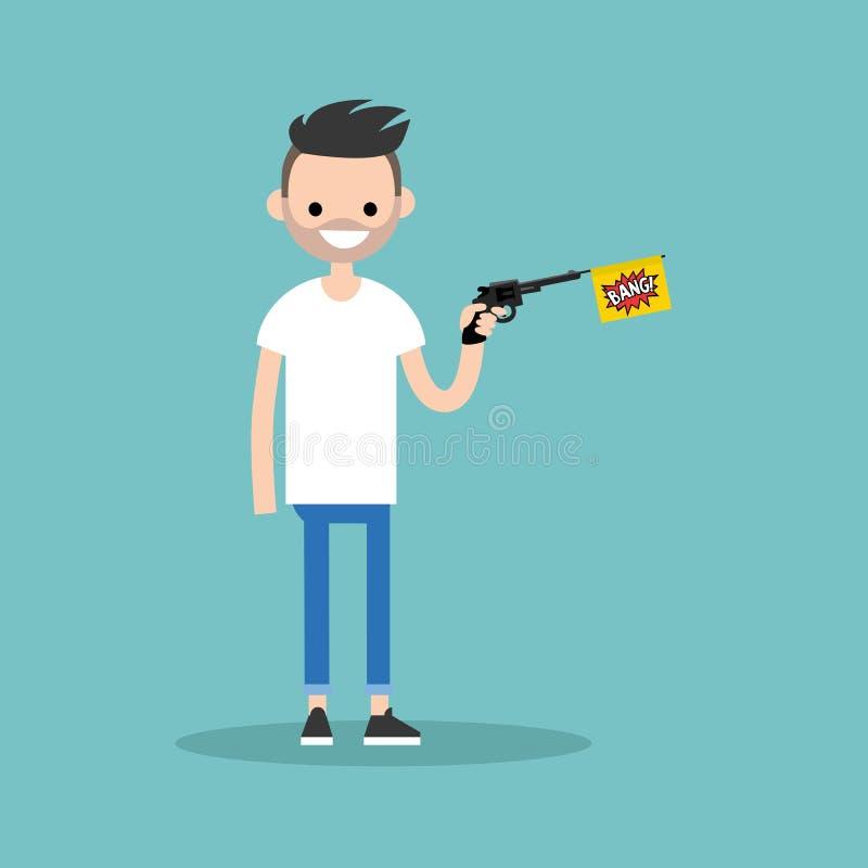 Jong karakter die een stuk speelgoed kanon met een een klapvlag/vlak editab houden vector illustratie