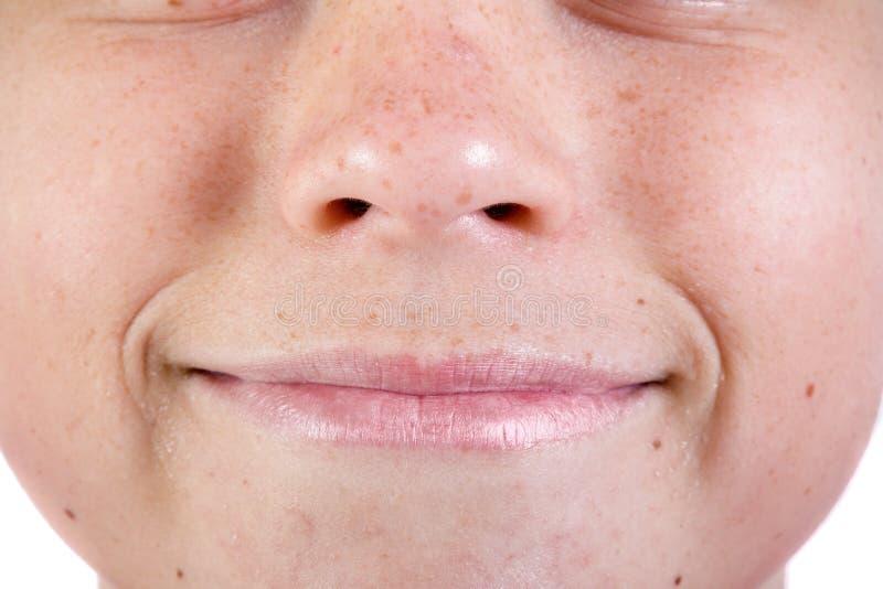 Jong Kaukasisch tiener` s gezicht stock fotografie
